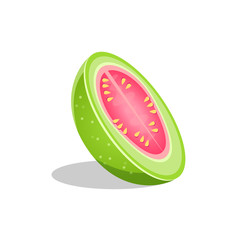 Pink Guava Fruit Cut In Half Bright Icon