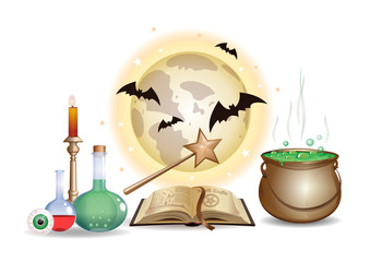 Magic chemistry objects set. Wizard laboratory with open book on black magic, magic wand, magic elixir, eye, witches cauldron with a potion, burning candle, full moon and bats. Vector illustration