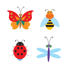 Set Of Simple Flying Bugs. Vector Ladybug. Vector Dragonfly. Vector Butterfly. Vector Bee. Cartoon Bugs For Children. Insects Toys.