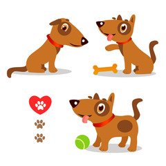 Dogs Funny And Sad. Cartoon Vector Set Illustrations On A White Background. Dogs Funny Faces. Dogs Funny Memes. Dogs Funny Moments.