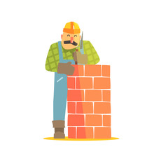 Builder Leveling Brick Wall On Construction Site