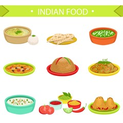 Indian Food Signature Dishes Illustration Set