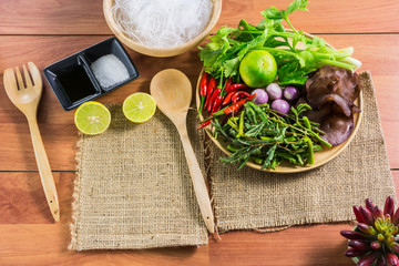 Healthy Food.Salad with cellophane noodles are a type of cuisine of Thailand.