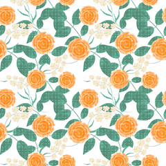 Seamless floral pattern background, flowers ornament wallpaper textile Illustration. orange flowers on white background.
