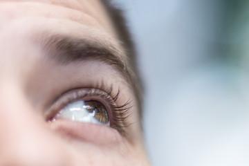 macro detail shot of a man's eye