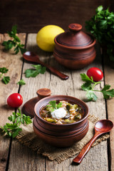 Russian cuisine: Solyanka - Soup from different kinds of meat an
