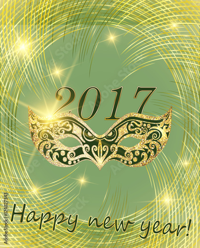 2017 vector happy new year and christmas line golden disk can be used as a
