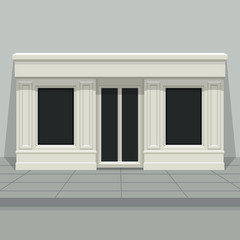 Facade shop, store, boutique with glass windows and doors, front view. Front of house. Template for outdoor advertising. Vector detailed illustration.