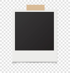 Realistic blank instant photos isolated on sticky tape. Vector illustration.