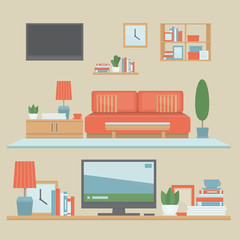 Living room modern interior and shelves with belongings. Front view interior set. Flat design style, vector illustration.