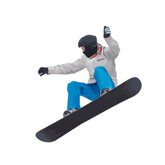 Winter sport, snowboarding - vector illustration of a young boy snowboarder doing a jump on a snowboard