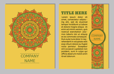 Set of business cards. Vintage pattern in retro style with mandala. Hand drawn Islam, Arabic, Indian, ottoman pattern