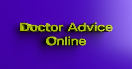 Doctor Advice Online - 3D rendered colorful headline illustration.  Can be used for an online banner ad or a print postcard.
