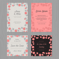Wedding card set with flower. Grey, pink and black color.