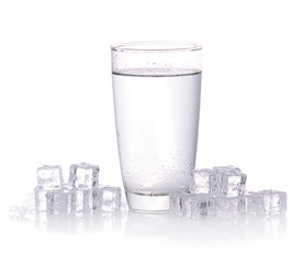 Glass of water with ice. Isolated on white background