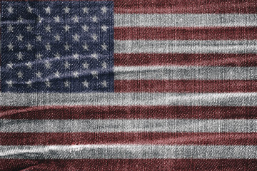 abstract USA flag on jean texture retro pattern