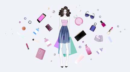 Fashion girl in dress with purchases