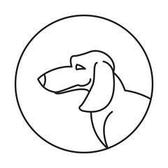 Dog head dachshund in a linear style