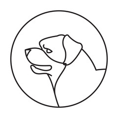 Dog head rottweiler in a linear style