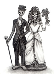 Skull art day of the dead.Art design skull wedding in love action smiley face day of the dead festival hand pencil drawing on paper.