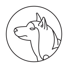 Dog head siberian husky in a linear style