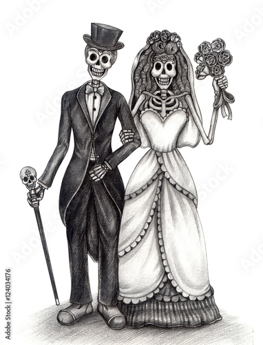 0fcffa225 Skull art day of the dead.Art design skull wedding in love action smiley  face day of the dead festival hand pencil drawing on paper.