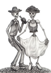 Skull art day of the dead.Art design Women and Men skull dance action smiley face day of the dead festival hand pencil drawing on paper.