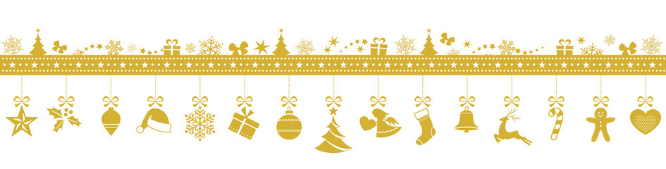 golden snowflake border with hanging christmas ornaments stock