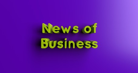 News of Business - 3D rendered colorful headline illustration.  Can be used for an online banner ad or a print postcard.