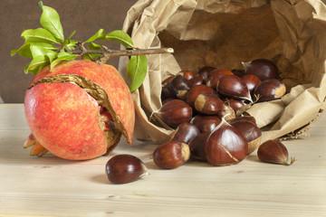 chestnut and pomegranates