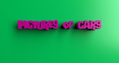 Pictures of Cars - 3D rendered colorful headline illustration.  Can be used for an online banner ad or a print postcard.