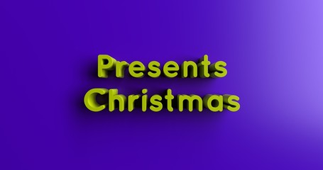Presents Christmas - 3D rendered colorful headline illustration.  Can be used for an online banner ad or a print postcard.