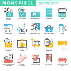 Flat thin line Icons set of Airport Area and Items. Pixel Perfec