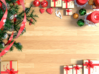 Golden gifts,Christmas tree,candle and empty picture frame in living room.3D rendering.