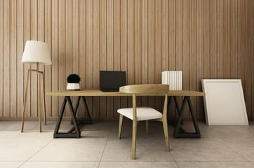 Workingroom interior design modern & loft - 3D render