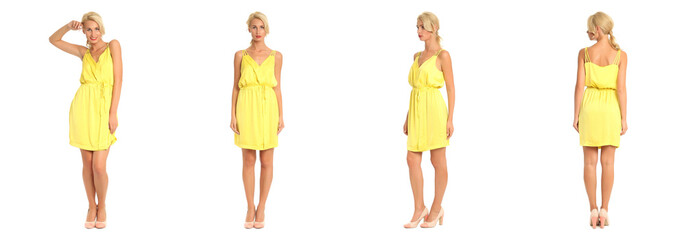 Beautiful blonde woman in yellow dress isolated on white