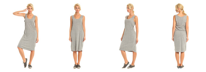 Beautiful blonde woman in gray dress isolated on white