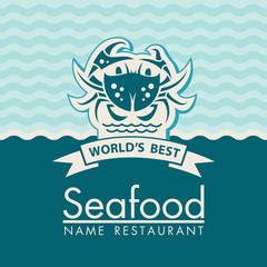 seafood menu design on a blue background