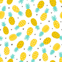 Pineapple and hearts seamless pattern