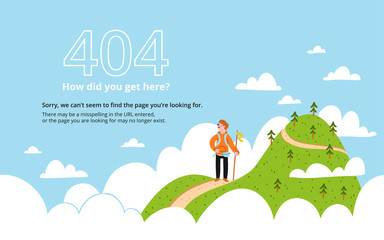 Error page with a mountain