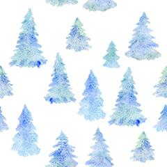 watercolor seamless pattern with blue pines. Fir forest isolated on white. Xmas background. New Year aquarelle