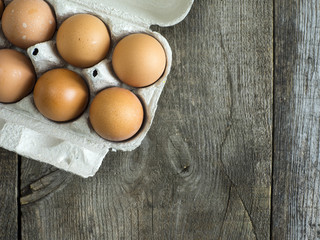 Carboard with chicken eggs