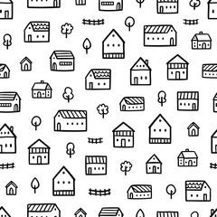 City houses doodle pattern