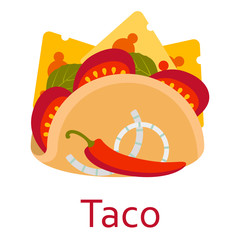 Taco. Fastfood and streetfood icon. Vector illustration.