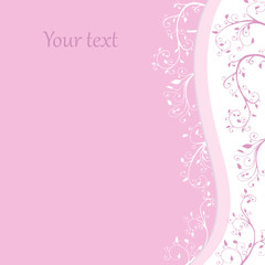 Postcard wiht place for your text. Pink card vector. Template for celebration.