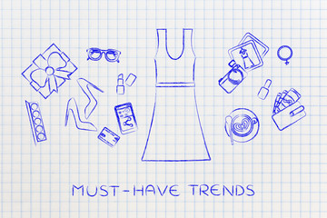 fashion shopping: dress & mixed accessories