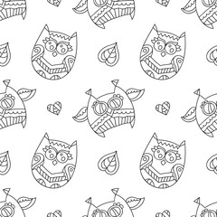 vector owls for coloring, seamless pattern of owls, leaves and hearts with ornaments