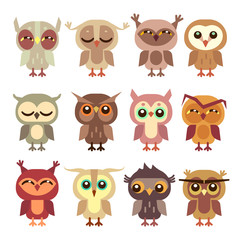 Funny cartoon owls vector set