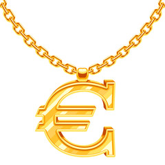 Gold necklace chain with euro symbol vector illustration