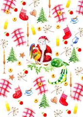 Акварельный набор на рождественскую тему. Может использоваться для дизайна открыток, упаковки, сайта, обложки, декупажа.